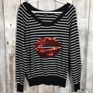 Torrid Plus Size 1X Sequin Lips Sweater Striped